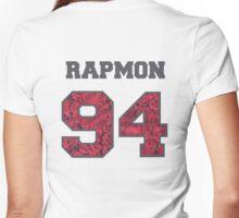 BTS- RAPMON 94 Line Flower Design Women's Fitted V-Neck T-Shirt