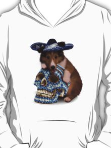 Day Of The Dead Sheltie Puppy T-Shirt