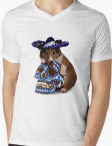 Day Of The Dead Sheltie Puppy Mens V-Neck T-Shirt