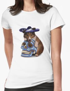 Day Of The Dead Sheltie Puppy Womens Fitted T-Shirt