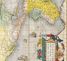 Antique Map of Western Hemisphere Circa 1579 by pjwuebker