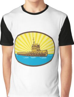 River Tugboat Oval Woodcut Graphic T-Shirt