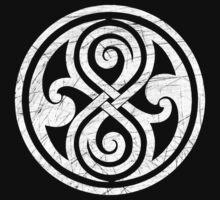 Seal of Rassilon - Classic Doctor Who - White on Black (Distressed) by James Ferguson - Darkinc1