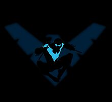 Nightwing Logo Jump Silhouette Blue digital  by justin13art