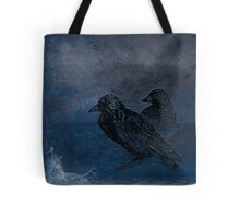 Two little crows blue sky dark night Tote Bag