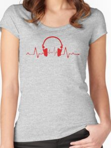 Headphones Heartbeat 2 Women's Fitted Scoop T-Shirt