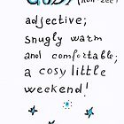 Cosy weekend - words illustration by Marikohandemade