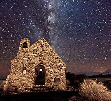 Church Of The Good Shepherd under a Starry Night by Ben Champion