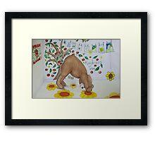 Downward Bear (Downward facing dog) Yoga pose Framed Print