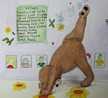 Three legged bear (three legged dog) Yoga pose with Virtues poster by Monica Batiste