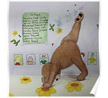 Three legged bear (three legged dog) Yoga pose with Virtues poster Poster