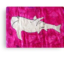 shark in pink paper Canvas Print