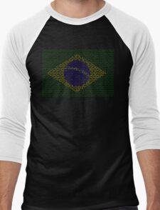 digital Flag (Brazil) Men's Baseball ¾ T-Shirt