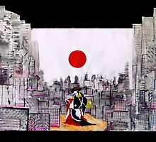Japanese man in A Japanese landscape by sebmcnulty