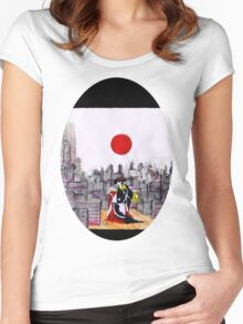 Japanese man in A Japanese landscape Women's Fitted Scoop T-Shirt