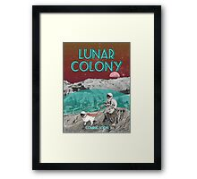 Lunar Colony Astronaut With Dog Framed Print