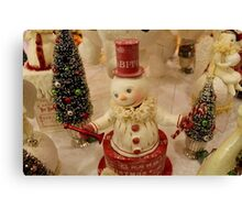 Christmas Snowman - Red Hat Canvas Print