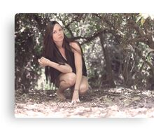 Pretty girl in the woods Canvas Print