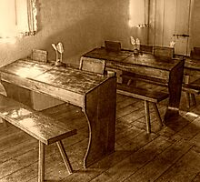 Desks Inside the Smalleytown School, East Jersey Olde Towne Village by Jane Neill-Hancock