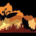 Godzilla versus Ghidorah cityscape by KAMonkey