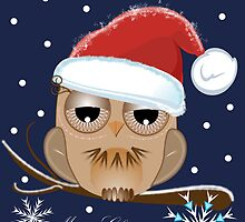 Owl with Santa hat and Merry Christmas text  by walstraasart