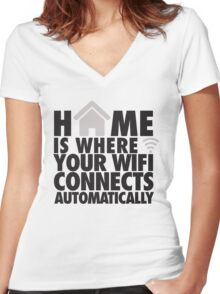 Home is where your WIFI connects automatically Women's Fitted V-Neck T-Shirt