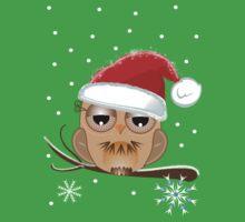 Cute Owl with Santa hat Tee One Piece - Short Sleeve