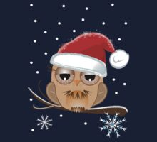 Cute Owl with Santa hat Tee One Piece - Short Sleeve
