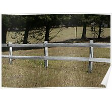 White Fence on a Farm Poster