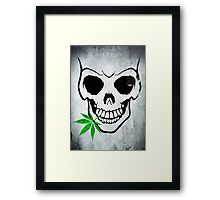 Skull with Weed -  Cool Skull with Pot - T Shirt Stickers Framed Print