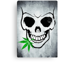Skull with Weed -  Cool Skull with Pot - T Shirt Stickers Canvas Print
