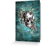 Grunge butterfly smoke skull Greeting Card