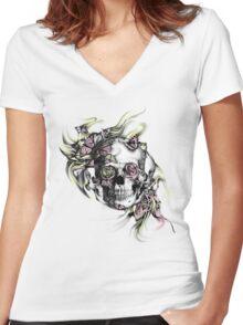 Grunge butterfly smoke skull Women's Fitted V-Neck T-Shirt