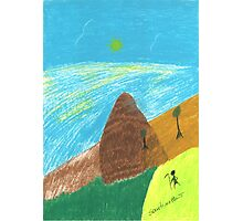 Mountain Landscape Pastel Drawing Photographic Print
