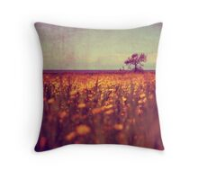lying in a field of daisies Throw Pillow