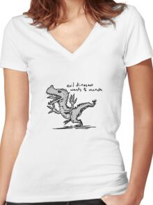 Evil Dinosaur Wants to Munch Women's Fitted V-Neck T-Shirt