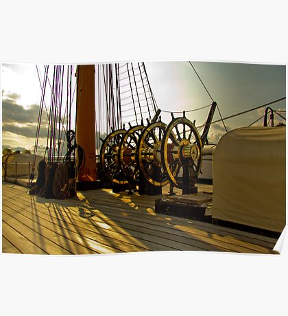 HMS Warrior Ships wheel. Poster