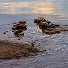 Sand, Rocks, Water and Golden Hour Reflections at Awenda Beach, Ontario by Gerda Grice