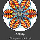Butterfly Mandala Poster w/grey background by TheMandalaLady