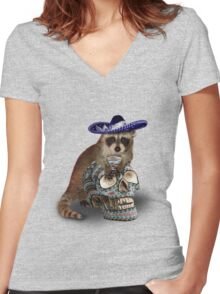 Day Of The Dead Raccoon Women's Fitted V-Neck T-Shirt
