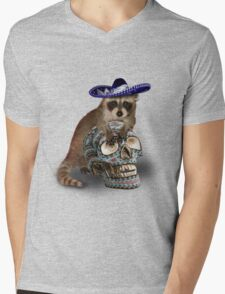 Day Of The Dead Raccoon Mens V-Neck T-Shirt