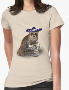 Day Of The Dead Raccoon Womens Fitted T-Shirt