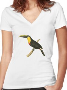 Doubtful Toucan Bird Illustration by William Swainson Women's Fitted V-Neck T-Shirt
