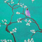 Blossom - teal Bird by Ali Close
