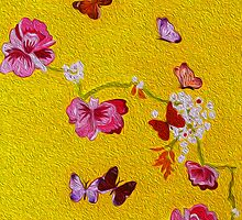 Butterflies - Acid yellow by Ali Close