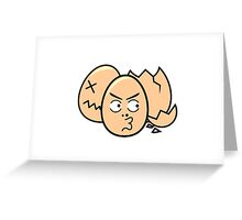 One punch egg man, funny egg head Greeting Card