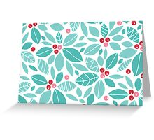 Holly berries and leaves pattern Greeting Card