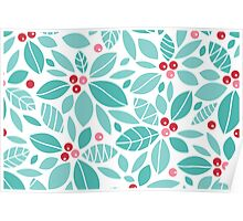 Holly berries and leaves pattern Poster