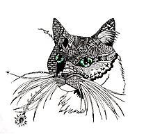 Cat zentangle portrait Photographic Print