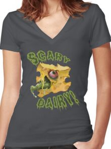 SCARY DAIRY!  Women's Fitted V-Neck T-Shirt